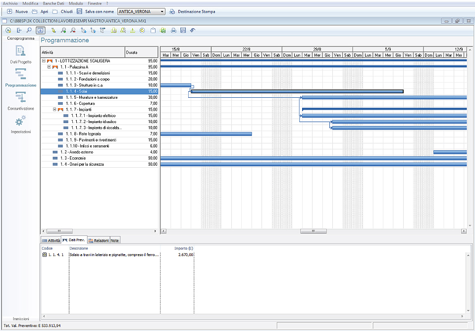 Software Cronoprogramma Lavori windows mac  888SP